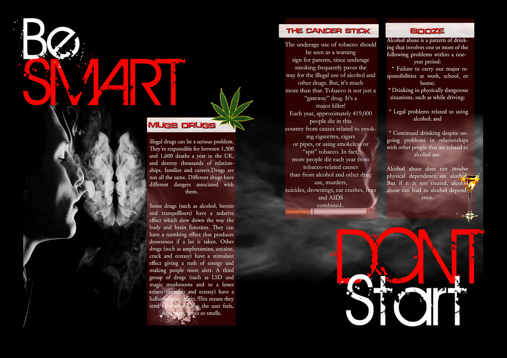 Anti Drug brochure double page spread college brief Shane Catney