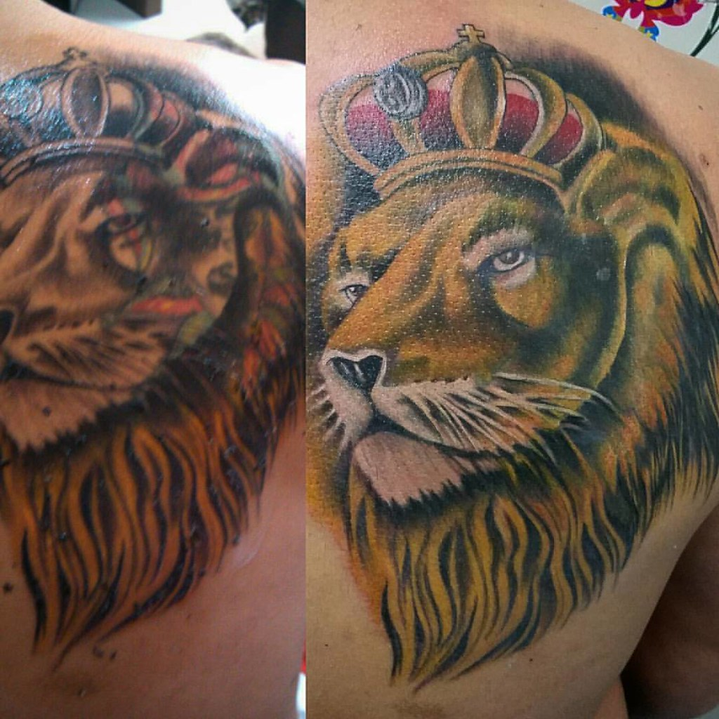 Löwe Farbe Jb Cover Up Cobertura Leao Löwe Lion Tattoo Tatuagem Flickr