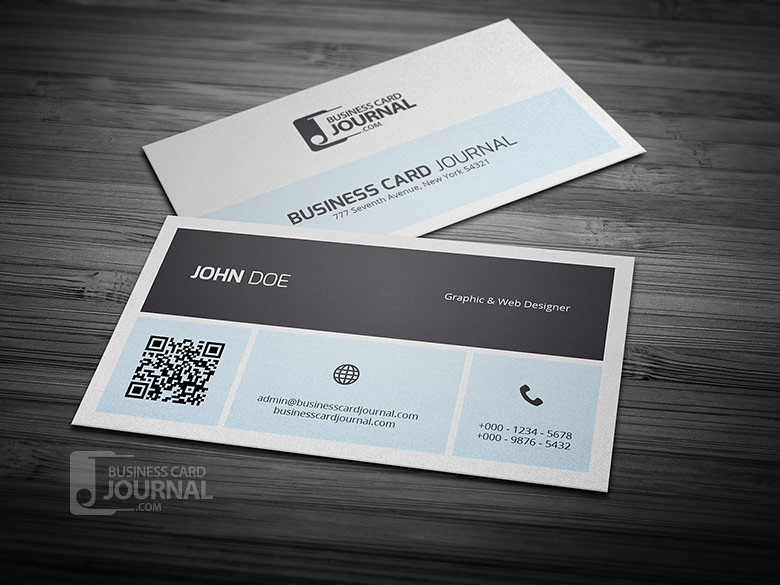 Simplistic Metro Business Card Template With QR Code Flickr