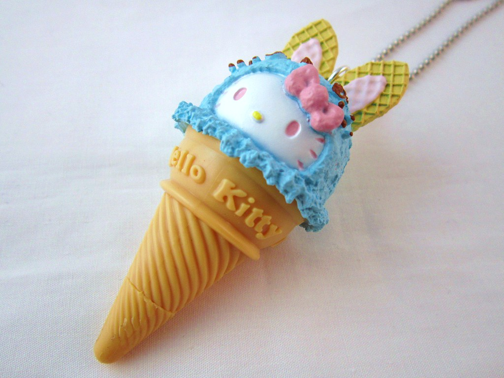 Baby Blue Pen Kawaii Hello Kitty Ice Cream Pen Charm Necklace Baby Blu