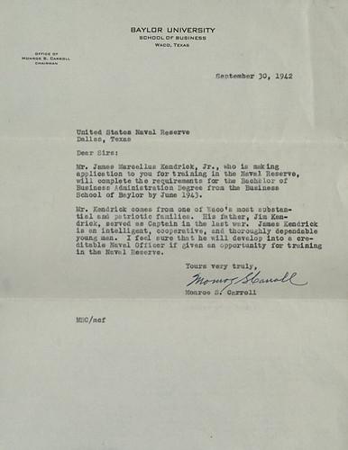 baylor letter of recommendation