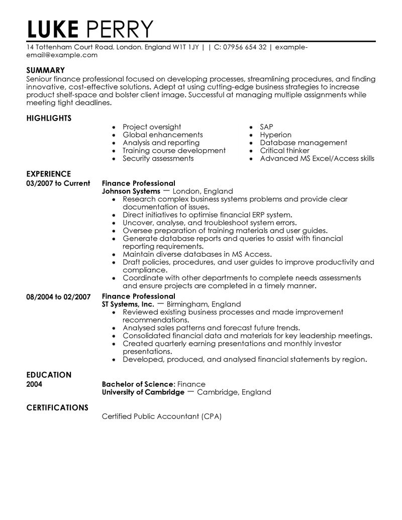 resume for finance job exolgbabogadosco - Financial Resume Example