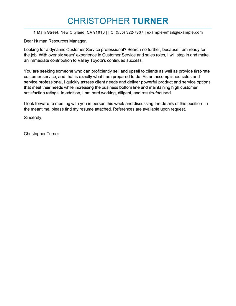 Cover Resume Best Customer Service Cover Letter Examples Livecareer