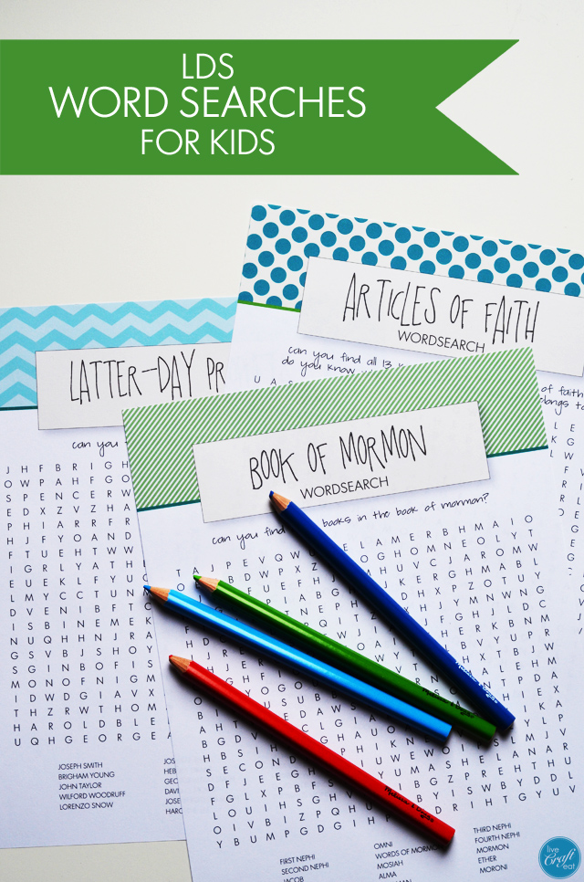 LDS Word Searches For Kids - Free Printables Live Craft Eat