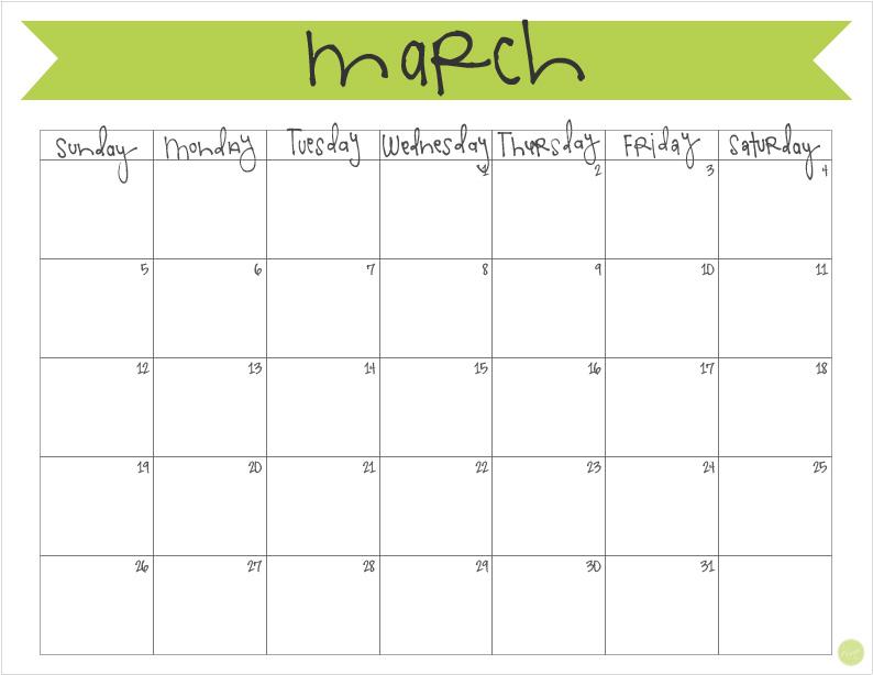 March 2017 Calendar - Free Printable Live Craft Eat - free calendar printable