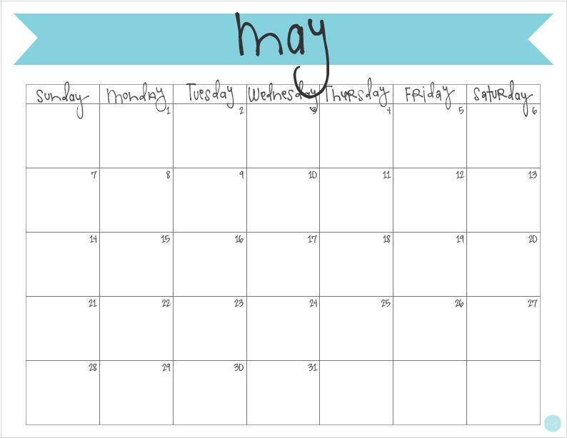 May 2017 Calendar - Free Printable Live Craft Eat - free printable monthly calendar