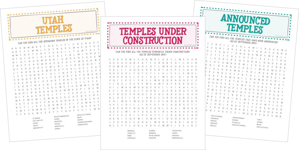 LDS Temple Word Searches For Kids Live Craft Eat