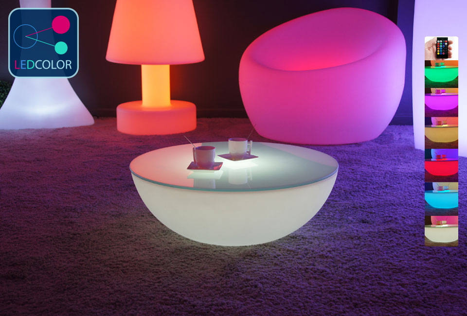 Mobilier De Bar Restaurant Table Basse Lumineuse Led Multicolore - Moon Light S