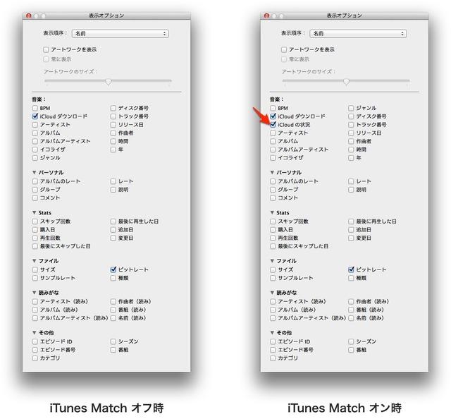 iTunes-Match-表示オプション