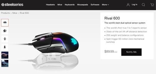 SteelSeries、TrueMove3+ デュアルオプティカルセンサーを搭載したゲーミングマウス「Rival 600」を発表