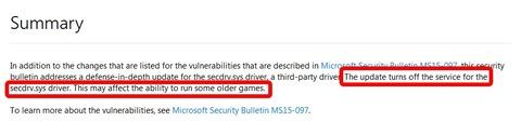 Windows10ではSafeDiscやSecuROM等のプロテクトをサポートせず、過去に販売されたゲームがプレイ不可になる可能性あり