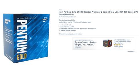 未発表の新Intel CPU「Coffee Lake」シリーズの低価格モデル4種類をAmazonがうっかり公開