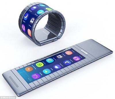曲げられるスマホ、中国のハイテク企業が発表 腕に巻くこともできる