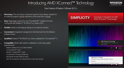 AMD、Thunderbolt 3経由でノートPCに外部GPUを接続する技術「XConnect」を発表