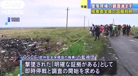 マレーシア航空がウクライナで墜落