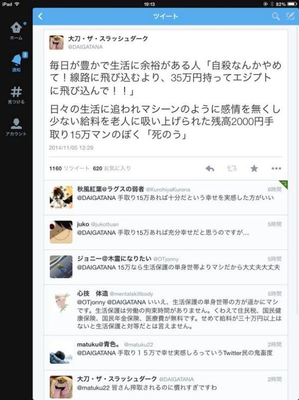 「手取り15万しかない・・・死にたい・・・」←Twitterで贅沢言うな!とフルボッコに、日本の若者は搾取される事に慣れ過ぎだろ。
