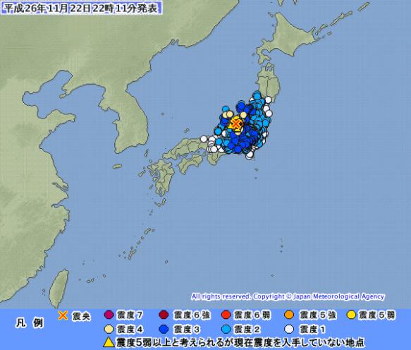 【速報】長野県北部で震度6 マグニチュード6.8