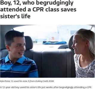 心肺蘇生法のクラスに嫌々参加した12歳少年、数週間後に妹の命を救う…アメリカ