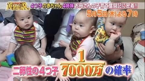 【えぇ…】テレ朝『黄金伝説』で4つ子の赤ちゃんの入浴シーンが放送される → 乳首を規制してた → 日本終わってんなと話題に…