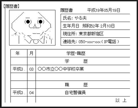 【悲報】自営業俺氏、とんでもない履歴書を送り付けられる