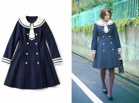 【可愛い】フェリシモのブランド「スキヤキ」からセーラー服みたいなコートが登場!