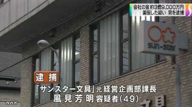 サンスター文具元社員 風見芳明容疑者、3億9000万円を着服で逮捕