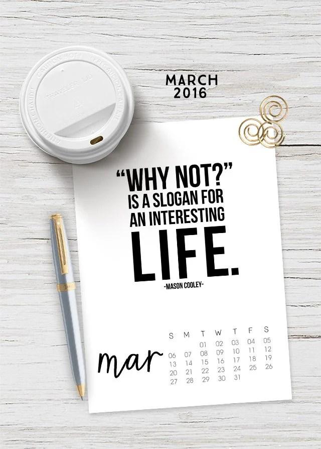 March 2016 Printable Calendar - Live Laugh Rowe