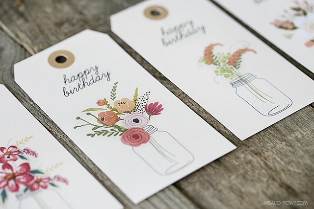 Floral Printable Birthday Gift Tags - Live Laugh Rowe