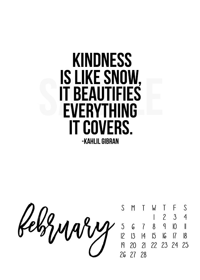 Brochure Printing Services Company Online Superfine Printing 2017 February Calendar Kindness Is Like Snow