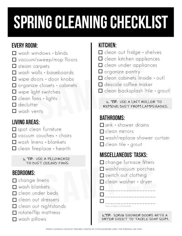 Spring Cleaning Must-Haves and Printable Checklist - Live Laugh Rowe - spring cleaning checklist