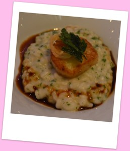 Second course, risotto with seared scallop