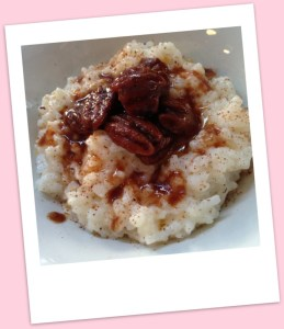 Warm rice pudding with toffee pecans