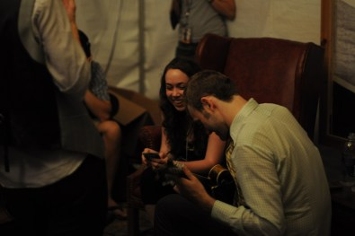 sarah jarosz and the punch brothers jamming out in the press tent @ bonnaroo 2010
