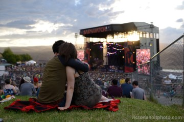 A couple embrace during the Sasquatch! Music Festival on Friday, May 22nd, 2015.
