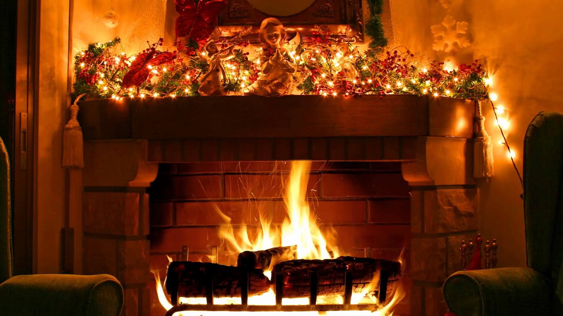 Christmas Fireplace Wallpaper Fireplace Christmas Decoration Live Wallpapers