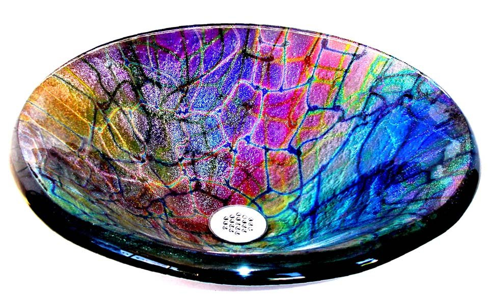 Veins of vivid color highlight this cameleone glass vessel sink