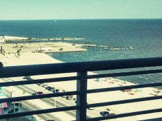 The view from an 11th story balcony overlooking the Gulf of Mexico.