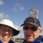 Selfie at the finishing monument - couldn't find anyone around to take a photo of us