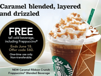 GO…Score a coupon for a FREE Tall Starbucks Frappuccino, Refresher, Iced Coffee or Shaken Iced Tea!