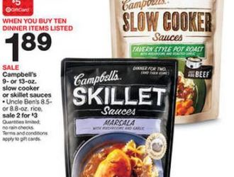 *HOT* Campbells Skillet Sauces and Slow Cooker Sauces just $0.31 each at Target!!!!