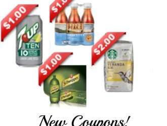 *HOT* new beverage coupons…Schweppes Ginger Ale (reset), 7 Up Ten, Peak Tea, Motts, Starbucks and more!