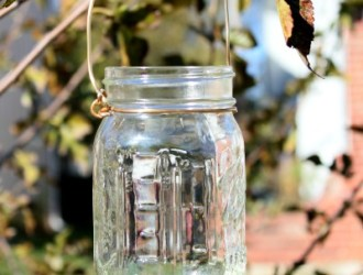 DIY Shabby Chic Hanging Mason Jar Lanterns