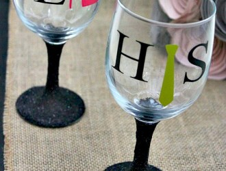 DIY – His & Hers Glitter Stem Wine Glasses (Silhouette Project)