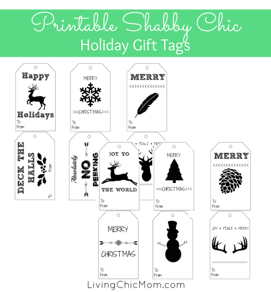 DIY Shabby Chic Holiday Gift Tags (printable) - Living Chic Mom