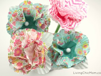 DIY Cupcake  Paper Flower Pencils