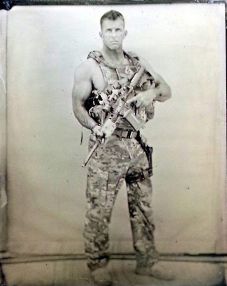A picture of my dad taken with an old 1800's camera. This was from his last deployment that finished in June.