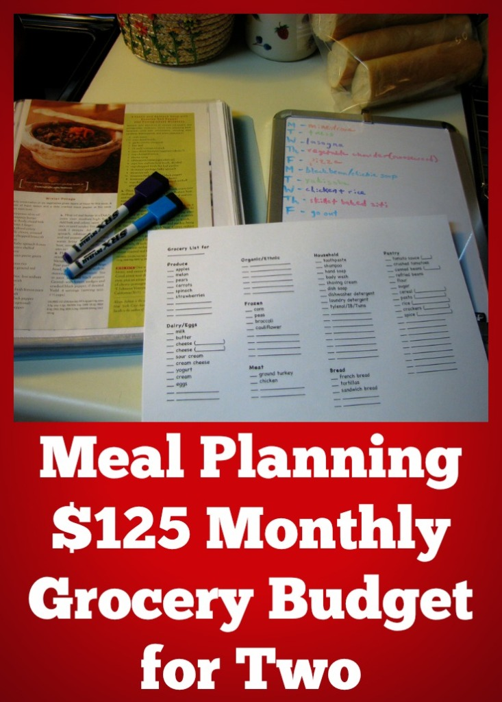 $125 Monthly Grocery Budget for Two Meal Planning