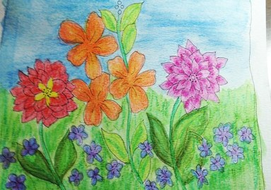 second layer watercolor flowers