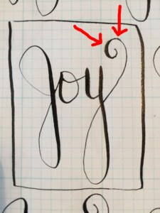 Capturing the curlique. After writing the word Joy a serendipitous moment occurred. This little tail was perfect.