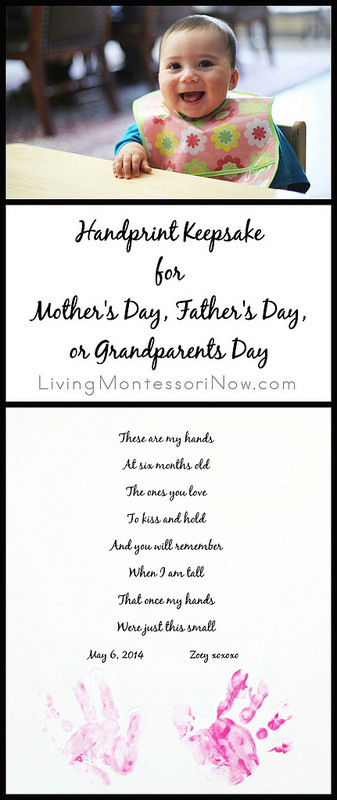 Handprint Keepsake for Mother\u0027s Day, Father\u0027s Day, or Grandparents